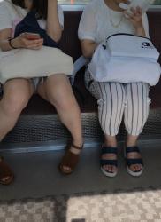 【電車対面】仕事の疲れを癒やしてくれる対面パンチラエロ画像の画像