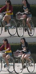 【自転車】つい目がいってしまう自転車に乗った美女を盗撮の画像