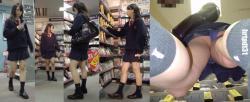 えちえちなJKを逆さ撮りで犯す!女子高生の見られたくないパンツをこっそり盗撮( ^ω^ )の画像