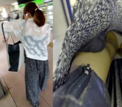 ロングスカート・長めのスカートに強引にカメラを差し込んで撮影した逆さ撮りパンチラ画像の画像