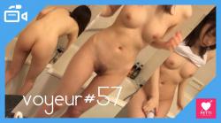 【voyeur#57】浴室で美乳JKがバイブオ○ニーやムダ毛処理を行い、最後にはカメラの存在に気づくの画像